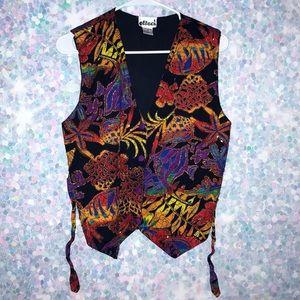Vintage 80s Unique Multicolored Tropical Vest